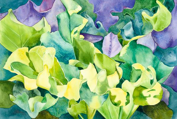 Du soleil en feuilles, 14 x 21 po